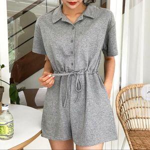 Soft knit grey romper